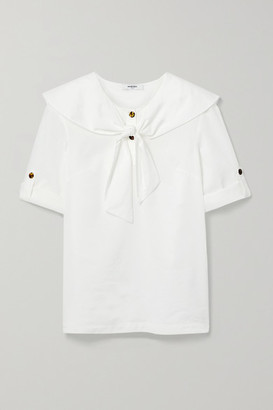 Marysia Swim Sailor Tie-neck Cotton And Lyocell-blend Top - White