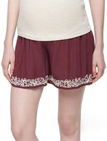 A Pea in the Pod Secret Fit Belly Embroidered Hem Maternity Shorts