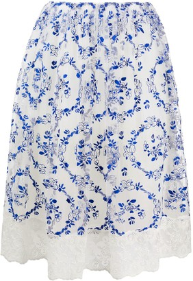 Simone Rocha floral-embroidered tulle A-line skirt