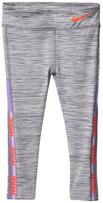 Nike Kids Dri-FITtm Logo Tape Leggings (Toddler) (Dark Grey Heather) Girl's Casual Pants