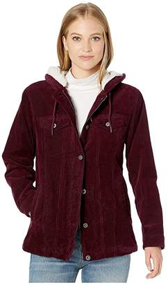 Levi's Corduroy Sherpa Lined Trucker with Hood (Burgundy) Women's Clothing