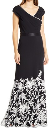 Tadashi Shoji Sequin Floral Mixed Media Crepe Fit & Flare Gown