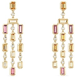 David Yurman Novella Earrings in Spessartite Garnet, Pink Tourmaline & Yellow Beryl with Diamonds