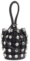 Alexander Wang Mini Roxy Crystal Studded Nappa Leather Bucket Bag - Black