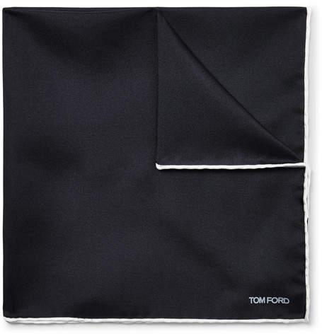 Tom Ford Contrast-Tipped Silk-Twill Pocket Square - Men - Midnight blue