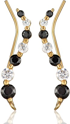 clear The Ear Pin Cubic Zirconia Black and Journey Gold Over Silver Earrings