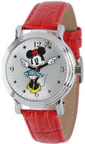 Disney Princess Disney Minnie Mouse Womens Red Leather Strap Watch