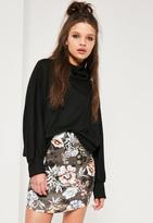 Missguided Petite Exclusive Grey Scuba Floral Print Curve Hem Skirt