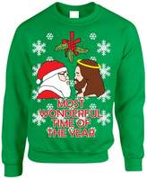 Allntrends Adult Crewneck Jesus Santa Missile Tow Ugly Christmas Sweater (L, )