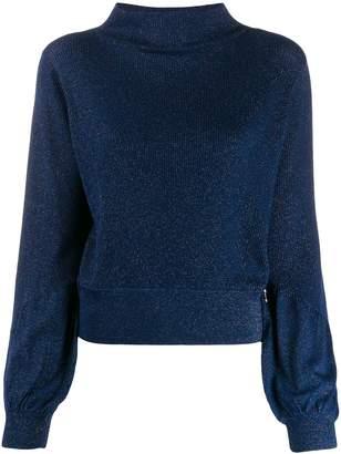 Patrizia Pepe glitter detail puff sleeve sweater