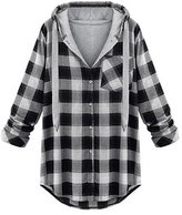 Tortor 1Bacha Women's Stylish Tartan Plaid Hoodie Long Hooded Sweatshirt