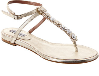 Tabitha Simmons Pyper T-Bar Strap Metallic Leather Sandal