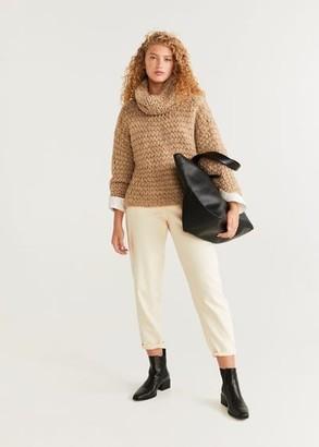 MANGO Cowl neck sweater medium brown - S - Women