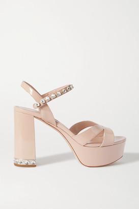 Miu Miu Crystal-embellished Patent-leather Platform Sandals - Neutral