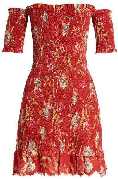 Zimmermann Corsair Iris Shirred Linen And Cotton Blend Dress - Womens - Red Multi