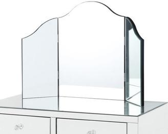 INSPIRED HOME Verina Frameless Modern Contemporary Tri-fold Tabletop Vanity Mirror,
