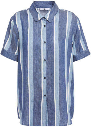 7 For All Mankind Striped Cotton-twill Shirt