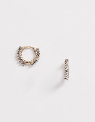 Asos Design DESIGN hoop earrings with ball studs in two tone finish-Multi