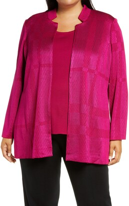 Ming Wang Notch Collar Textured Knit Jacket