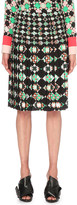 Emilio Pucci Geometric-print box-pleat crepe skirt