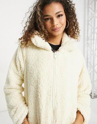 Brave Soul soft zip thru borg coat in cream