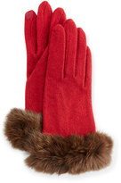 Portolano Fur-Cuff Knit Tech Gloves, Off Wine/Brown