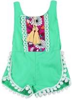 Mapletop Summer Sleeveless Tassels Romper Newborn Baby Girls Ethnic Style Bodysuit (9M, )