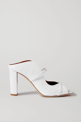 Malone Souliers Norah 85 Croc-effect Leather Sandals - White