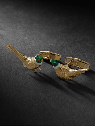 Deakin & Francis Pheasant 18-Karat Gold And Enamel Cufflinks