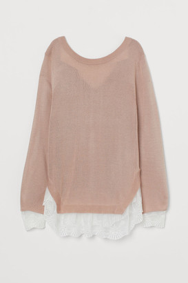 H&M Lace-trimmed Sweater - Pink