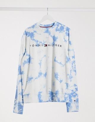 Tommy Hilfiger Tommy Hilfger tie dye logo crew neck sweatshirt in white and blue