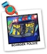 3dRose qs_1713_10 Londons Times Funny Society Cartoons - Boarder Police - Quilt Squares