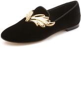 Giuseppe Zanotti Winged Velvet Slippers