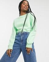 Monki Anny cropped sweatshirt in green