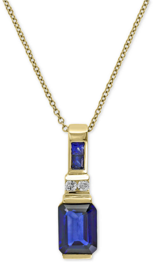 Effy Royale Bleu Sapphire (1-3/4 ct. t.w.) and Diamond Accent Pendant Necklace in 14k Gold, Created for Macy's