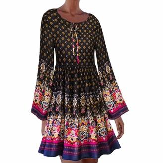 LOPILY 2019 Casual Dress Floral Print Crew Neck Bohemian Tea Dress Long Sleeve Flared Knee Length Pleated Maxi DressRedUK: 14/CN:XL
