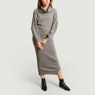 Mes Demoiselles Long Grey Cashmere Blend Sweater Calabria Dress - 2