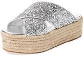 Miu Miu Glitter Platform Espadrille Sandal