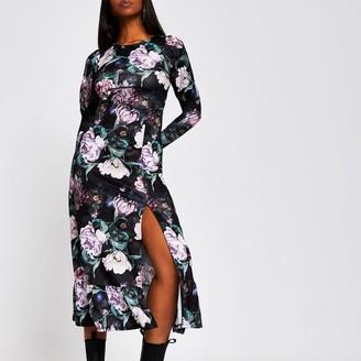 River Island Womens Black long sleeve floral midi dress