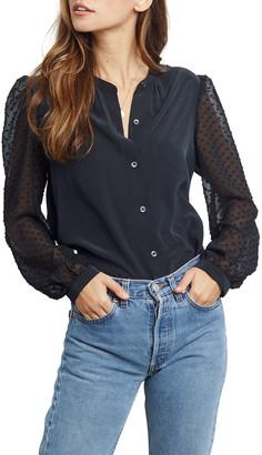 Rails Camilla Contrast-Sleeve Button-Down Silk Shirt