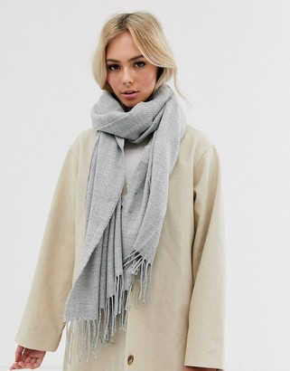 Pieces oversized tassel scarf in gray