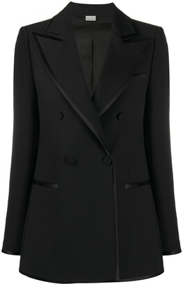 Gucci Double-Breasted Contrast-Trim Blazer