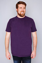 Yours Clothing BadRhino Purple Basic Plain Crew Neck T-Shirt