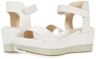 Cole Haan Grand Ambition Wedge Sandal (Ivory/Nebula Gold Leather) Women's Shoes