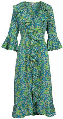 Felicity Dress- Turquoise & Lime