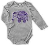 Urban Smalls Light Gray Boho Elephant Long-Sleeve Bodysuit - Infant