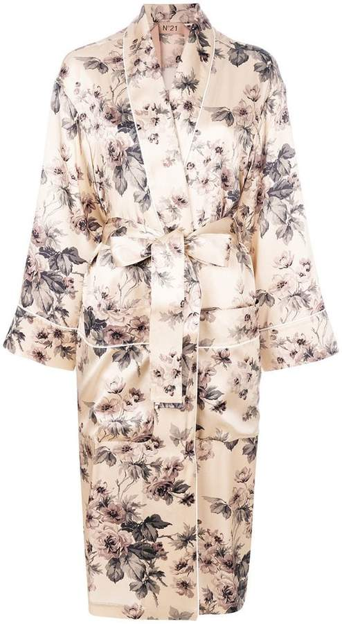 No.21 floral wrap coat