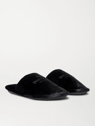 Balenciaga Home Logo-Embroidered Velvet Slippers