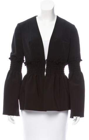 Yigal Azrouel Smocked-Trimmed Crepe Blazer w/ Tags