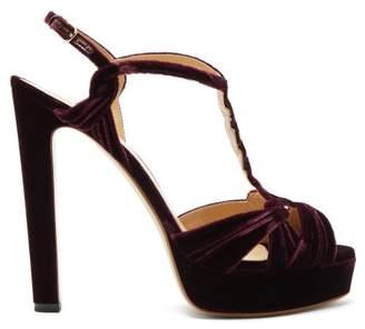 Francesco Russo T-bar Velvet Platform Sandals - Womens - Burgundy